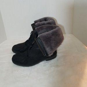 UGG Black Arquette Genuine Shearling Cuff  Boots